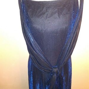 Metallic blue evening gown worn one time